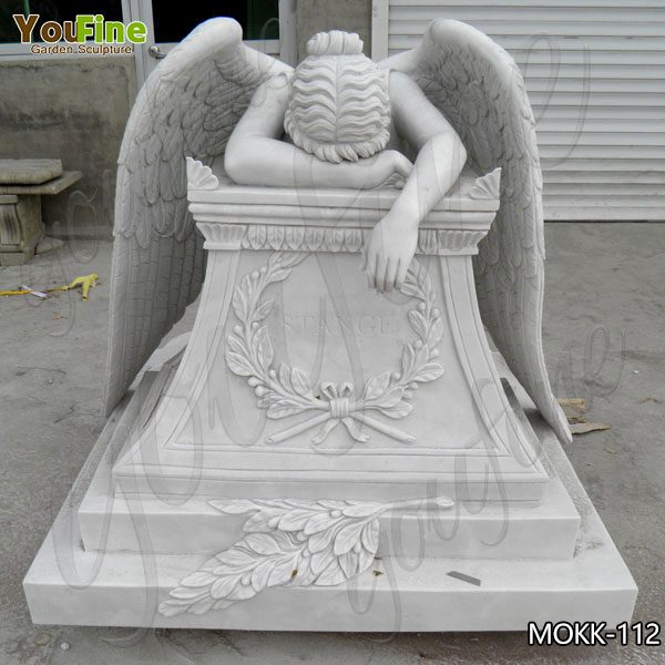 Life Size White Weeping Angel Marble Monument for Sale MOKK-112
