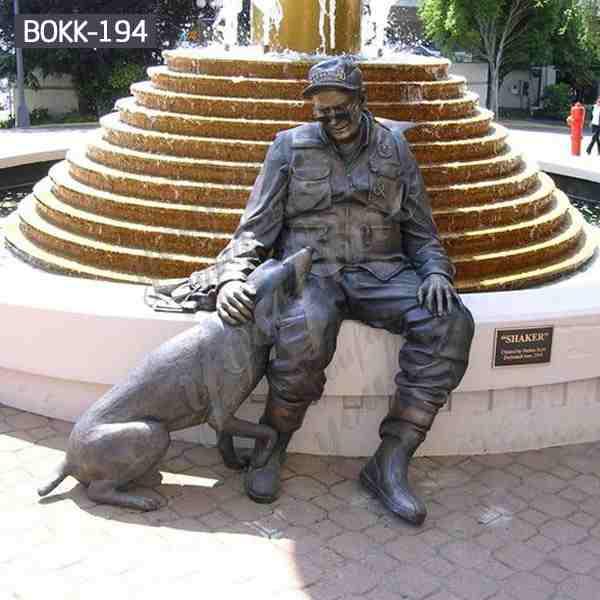 Lowest Price Outdoor Craft Bronze Soldier Sculpture with Dog Monument BOKK-194