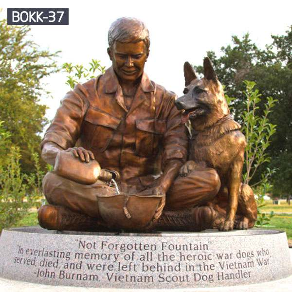 Military Not Forgotten Fountain Bronze Soldier and Dog Statue Wholesale BOKK-37