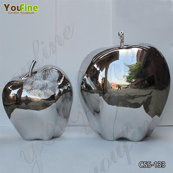 Mirror Polished Garden Stainless Steel Apple Sculptures Suppliers CSS-133