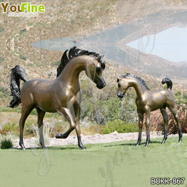 Newly Design Outdoor Bronze Mare and Filly Sculptures Supplier B0KK-867
