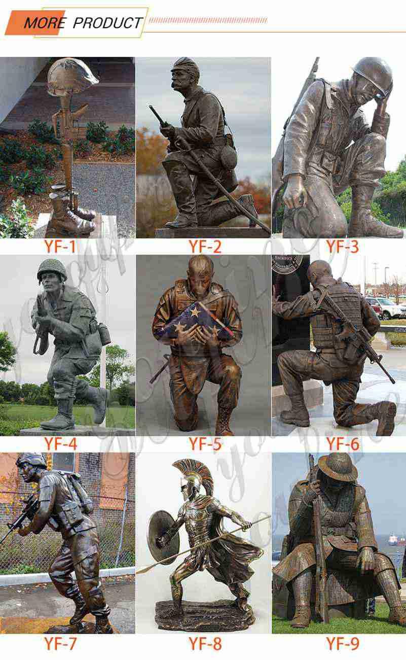 Outdoor Bronze Kneeling Soldier Sculpture