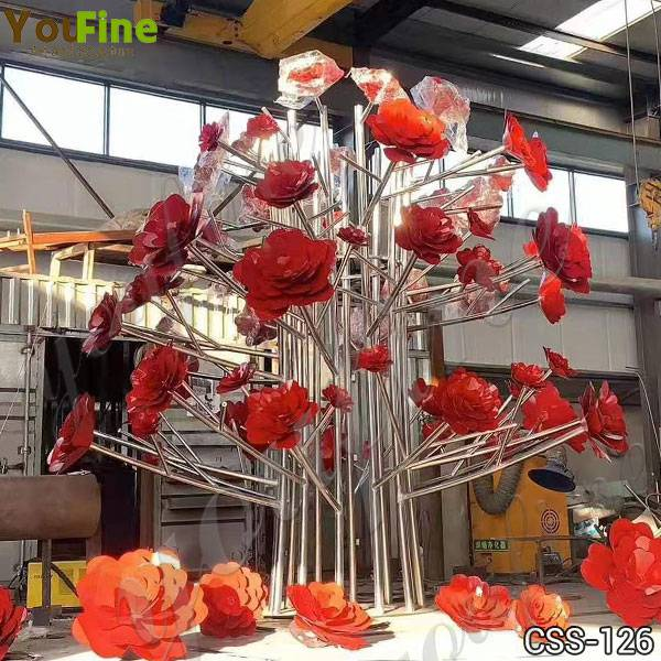 Outdoor Large Stainless Steel Flower Sculptures Manufacturers CSS-126