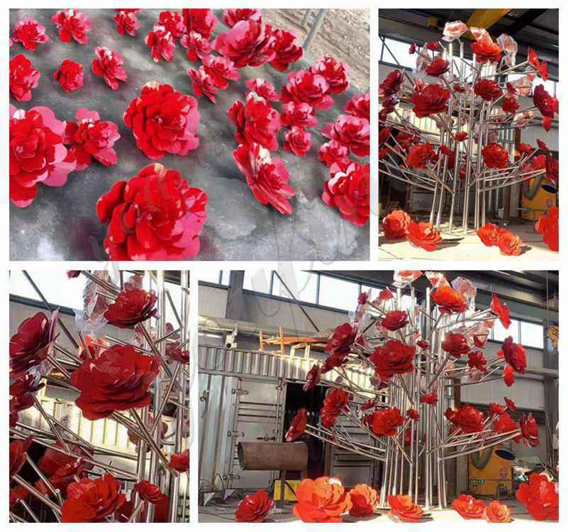 Outdoor Stainless Steel Flower Sculptures