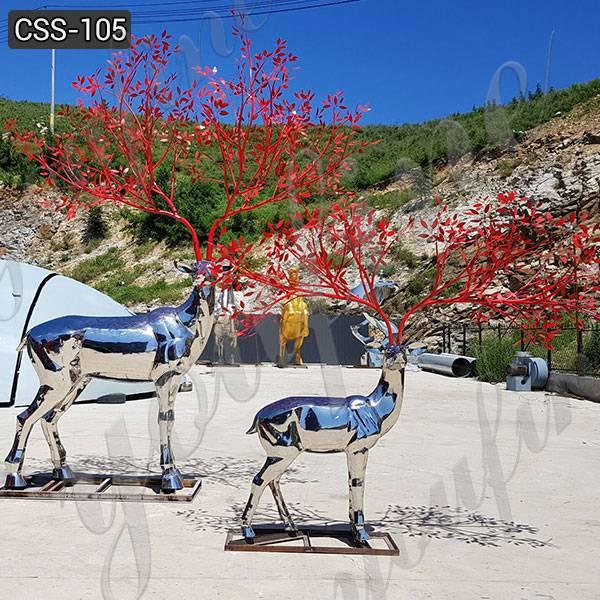 Newest Outdoor Stainless Steel Deer Garden Sculpture from Factory CSS-105