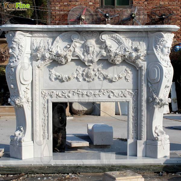 Exquisite Hand carved French Design Flower Marble Fireplace Supplier MOKK-106