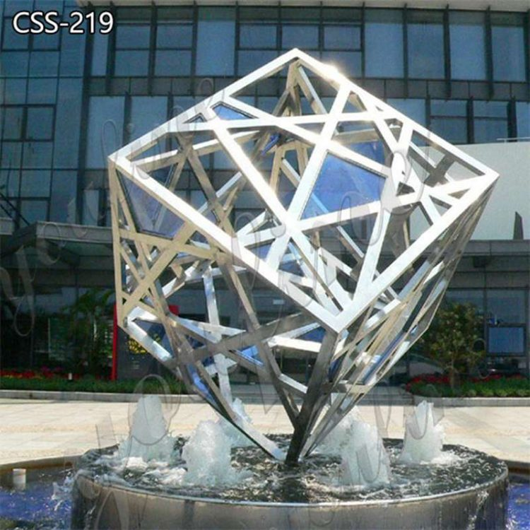 Large Garden Stainless Steel Cube Sculpture Factory Supply CSS-219