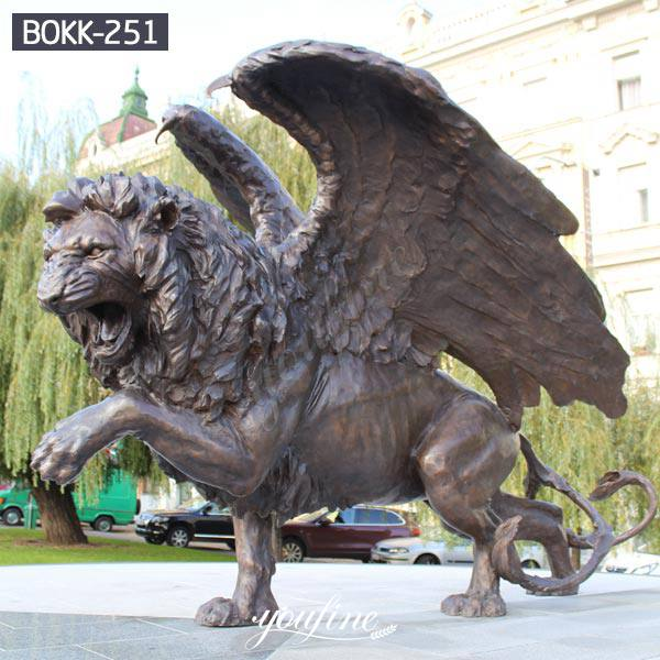 Large Outdoor Winged Lion Statue Flying Lion Lawn Ornaments for Sale BOKK-251