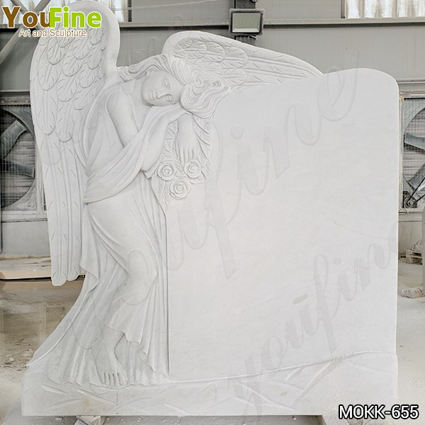 Marble Angel Memorial Headstones China Supplier MOKK-655