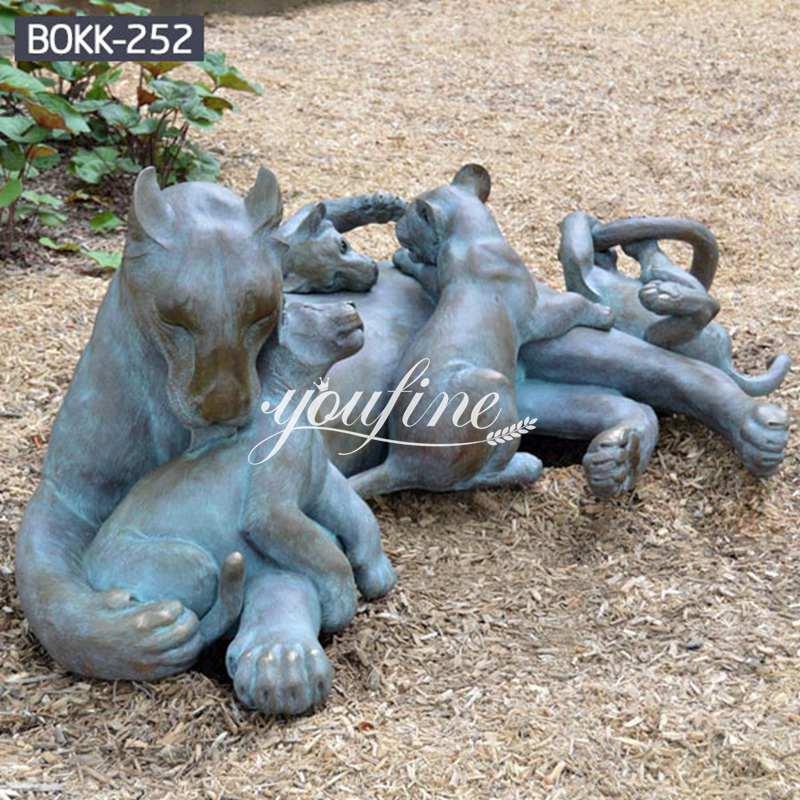 Outdoor Antique Bronze Lion Family Wildlife Animals Sculptures for Sale BOKK-252 Details