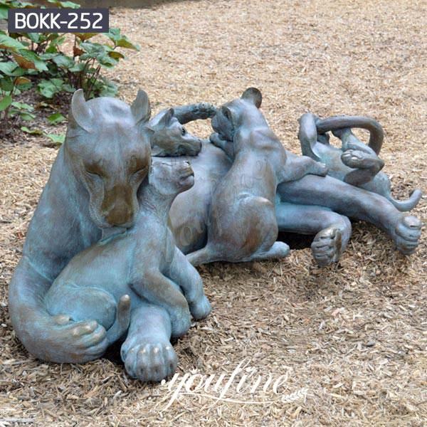 Outdoor Antique Bronze Lion Family Wildlife Animals Sculptures for Sale BOKK-252