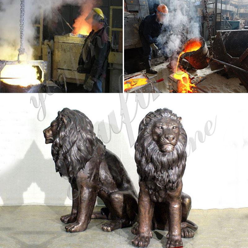 Outdoor Antique Bronze Lion Family Wildlife Animals Sculptures for Sale Castings