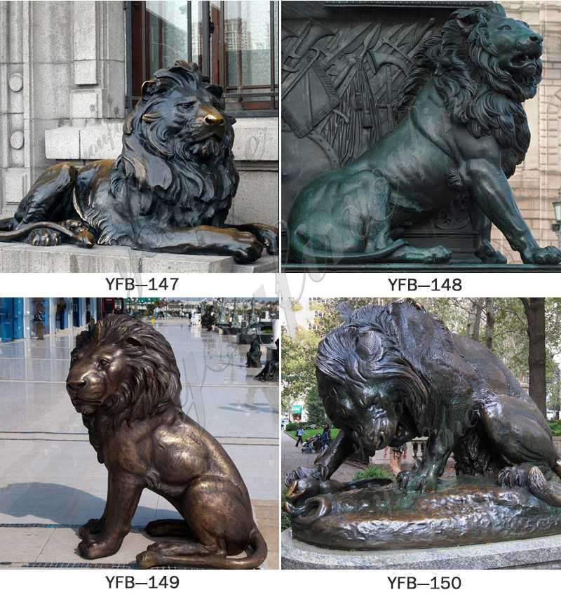 Outdoor Antique Bronze Lion Family Wildlife Animals Sculptures for Sale Product Show