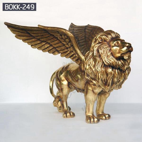 Outdoor Life Size Golden Bronze Winged Lion Statue for Door Decoration BOKK-249