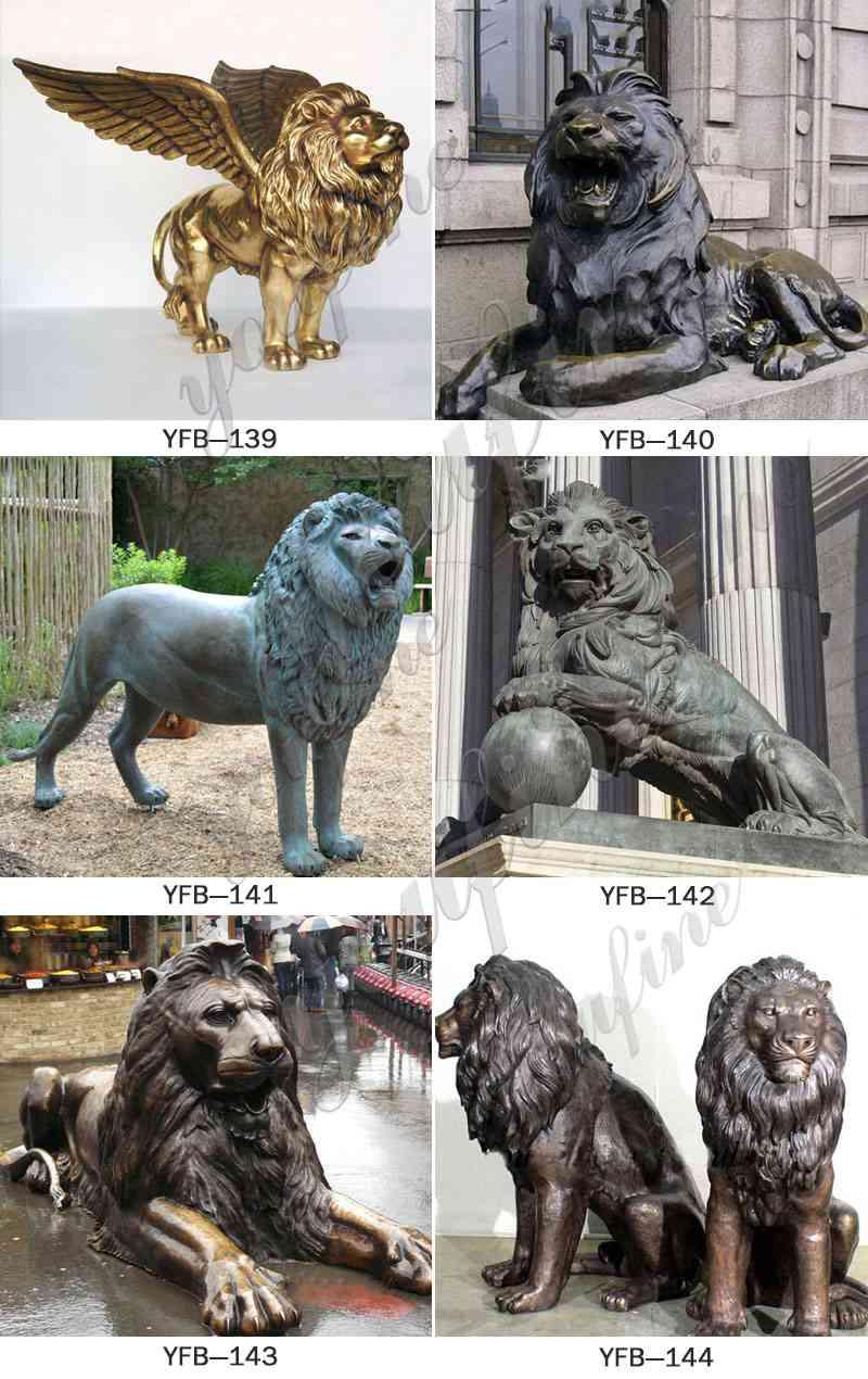 Outdoor Life Size Golden Bronze Winged Lion Statue for Door Decoration More Designs