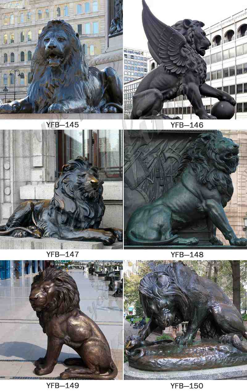 Outdoor Life Size Golden Bronze Winged Lion Statue for Door Decoration Other Designs