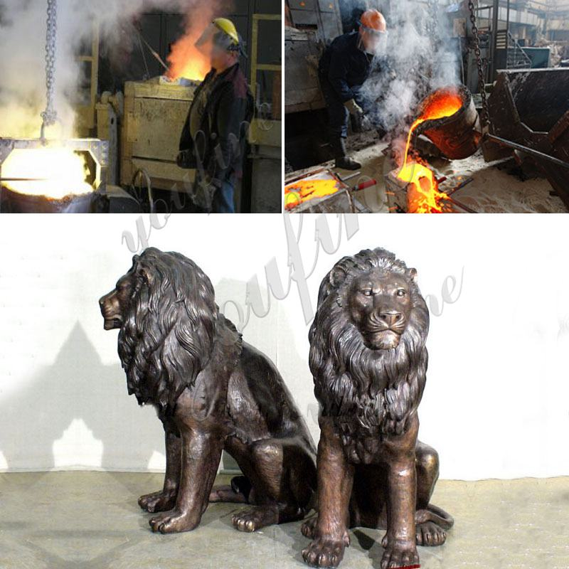 Outdoor Life Size Golden Bronze Winged Lion Statue for Door Decoration Production Process