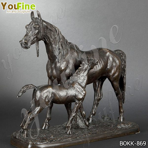 Popular Large Size Bronze Mare and Foal Sculptures Design for Sale BOKK-869