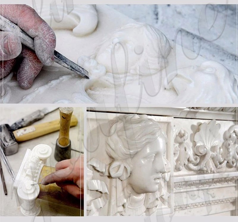 Design White Outdoor Modern Marble Stone Fireplace for Sale MOKK-490