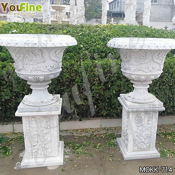 Luxury Style White Marble Flower Pots floral designs for Sale MOKK-714