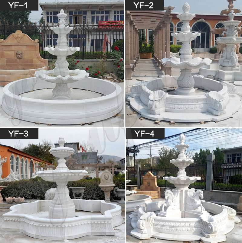 Exquisite White Marble Three Tired Patio Water Fountain for Sale