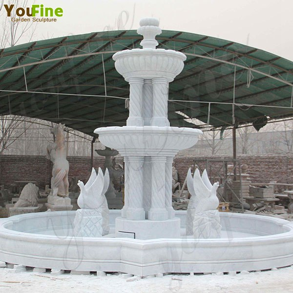 Exquisite White Marble Three Tired Patio Water Fountain for Sale MOKK-418