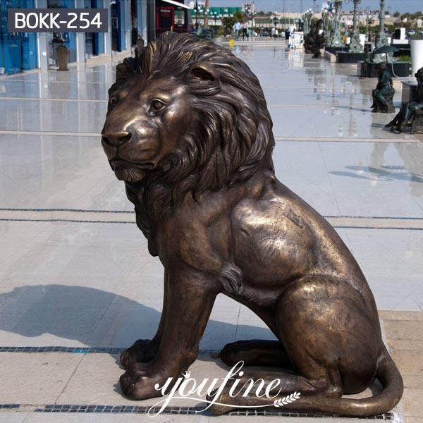 Life Size Antique Bronze Sitting Lion Statue Door Entrance Decor for Sale BOKK-254