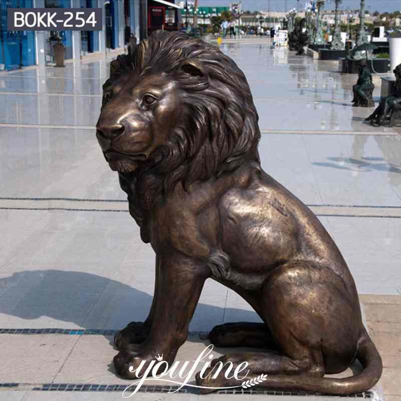 Life Size Antique Bronze Sitting Lion Statue Door Entrance Decor for Sale Details