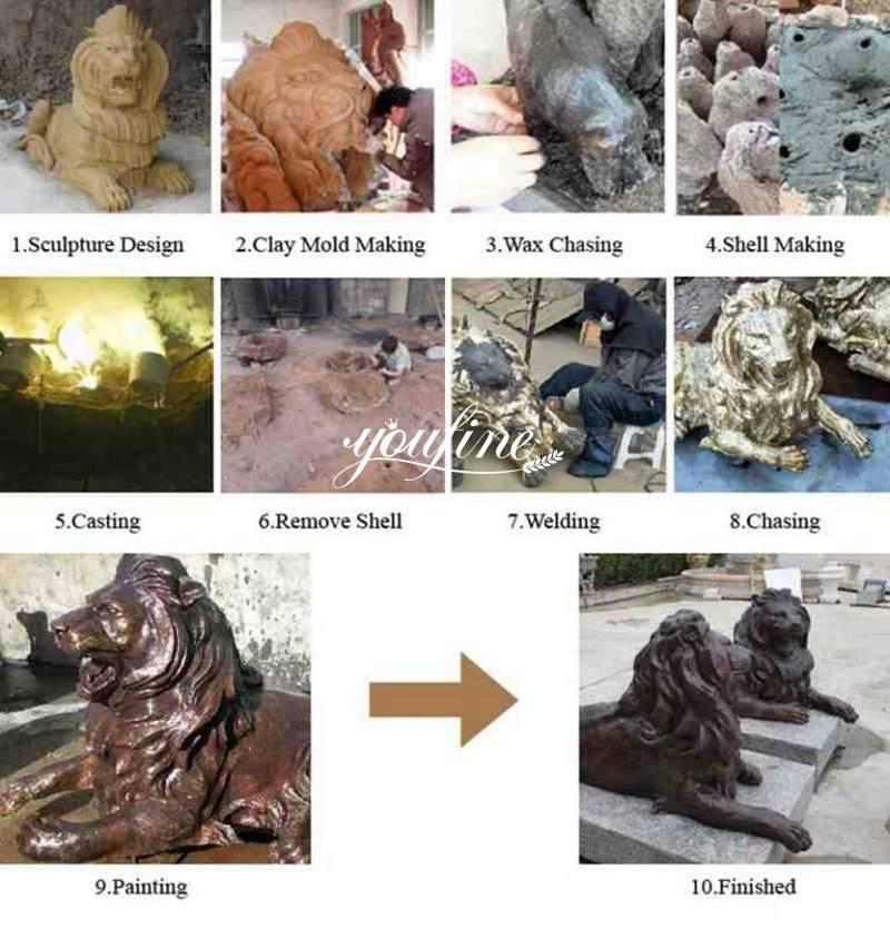 Life Size Antique Bronze Sitting Lion Statue Door Entrance Decor for Sale Production Process