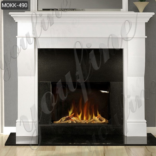 White Marble Tile Fireplace Facing Home Decoration for Sale MOKK-490