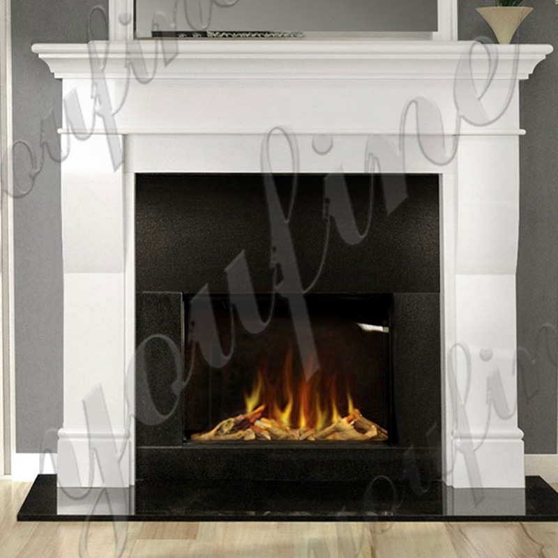 Minimalist Design White Outdoor Modern Marble Stone Fireplace for Sale
