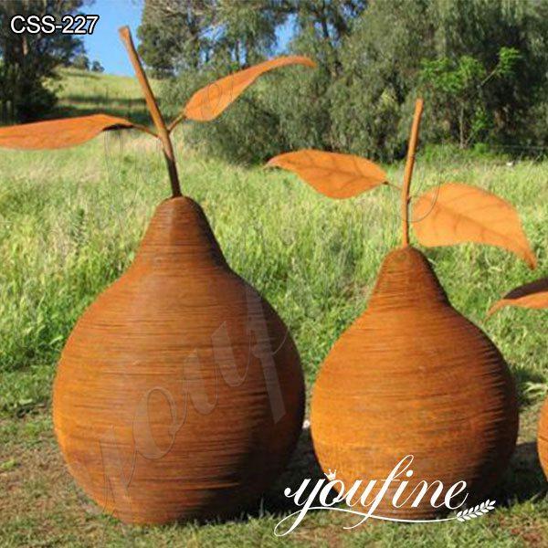 Outdoor Rusty Pear Corten Steel Sculpture Garden Decor from Factory Supply CSS-227