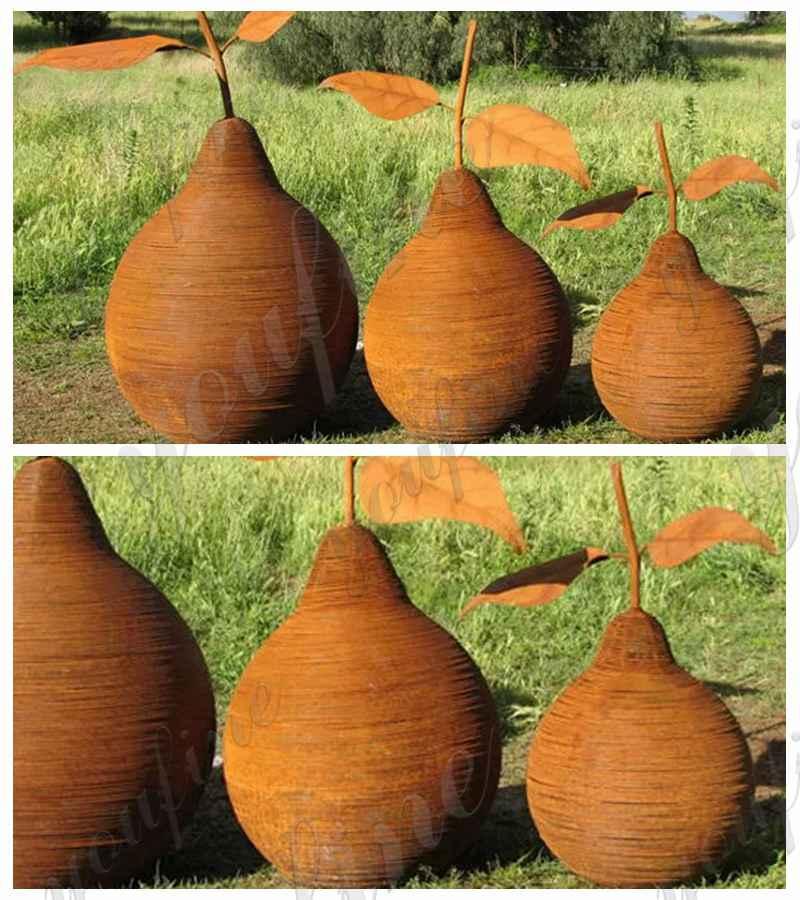 Pear Corten Steel Sculpture Garden Decor