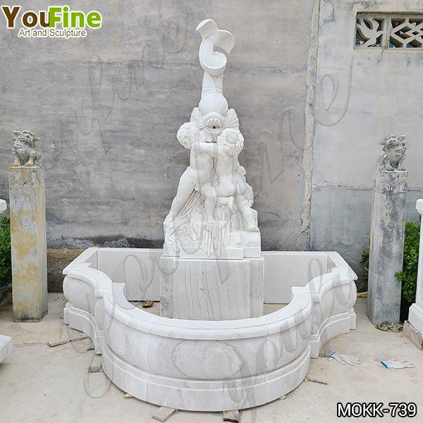 Pure White Marble Water Angel Fish Wall Fountain for Sale MOKK-739