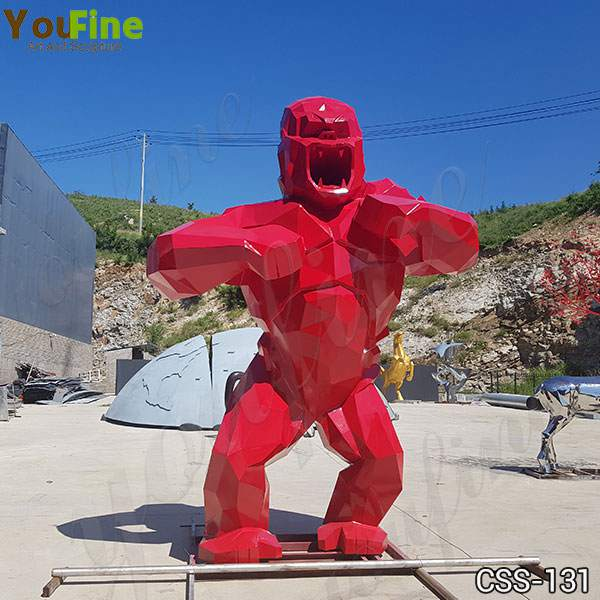 Large Outdoor Red Stainless Steel King Kong Sculpture for Sale CSS-131