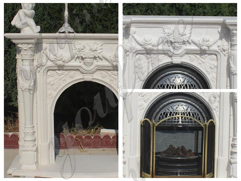 White Outdoor Stone Simple Stone Design Marble Fireplace Supplier MOKK-488