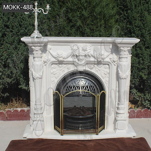Simple Design White Marble Fireplace Supplier for Sale MOKK-488