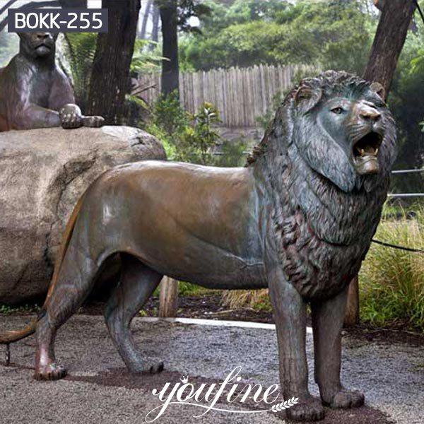 Life Size Vintage Bronze Lion Statue Animals Park Decoration for Sale BOKK-255