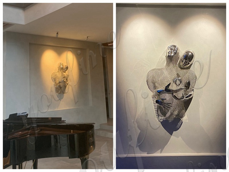 Stainless steel wall decorative sculpture