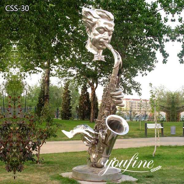 Garden Decor Abstract Modern Metal Saxophone Musician Sculptures for Sale CSS-30