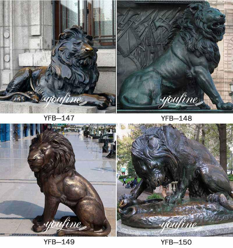 Antique Large Bronze Lion Statue for Front Porch Supplier BOKK-260