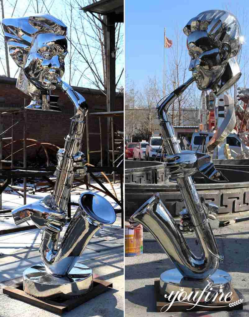 Garden Decor Modern Metal Saxophone Musician Sculptures for Sale
