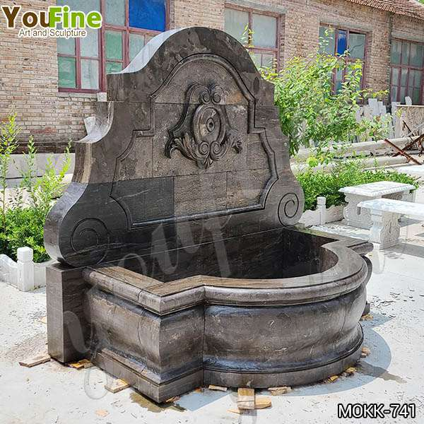 Garden Natural Black Granite Wall Fountain with Flora