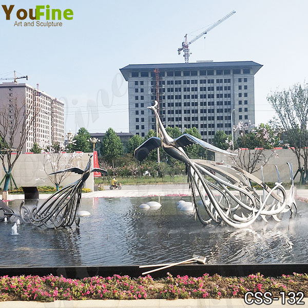 Large Metal Phoenix Sculpture for Sale Stainless Steel Sculpture Factory CSS-132