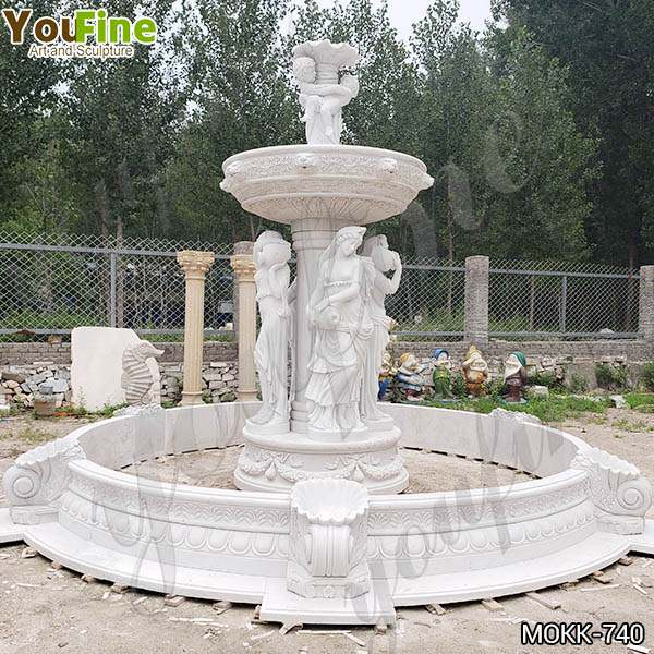 Outdoor Marble Woman Garden Fountain with Angel Manufacturer MOKK-740