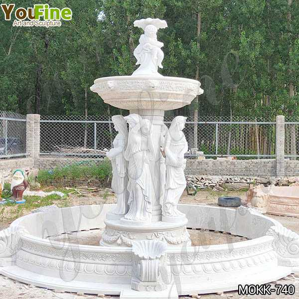 Outdoor Garden Marble Fountain with Woman Angel Factory MOKK-740