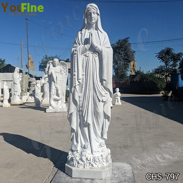 Catholic White Marble Our Lady of Lourdes Statue for Sale for Church CHS-797