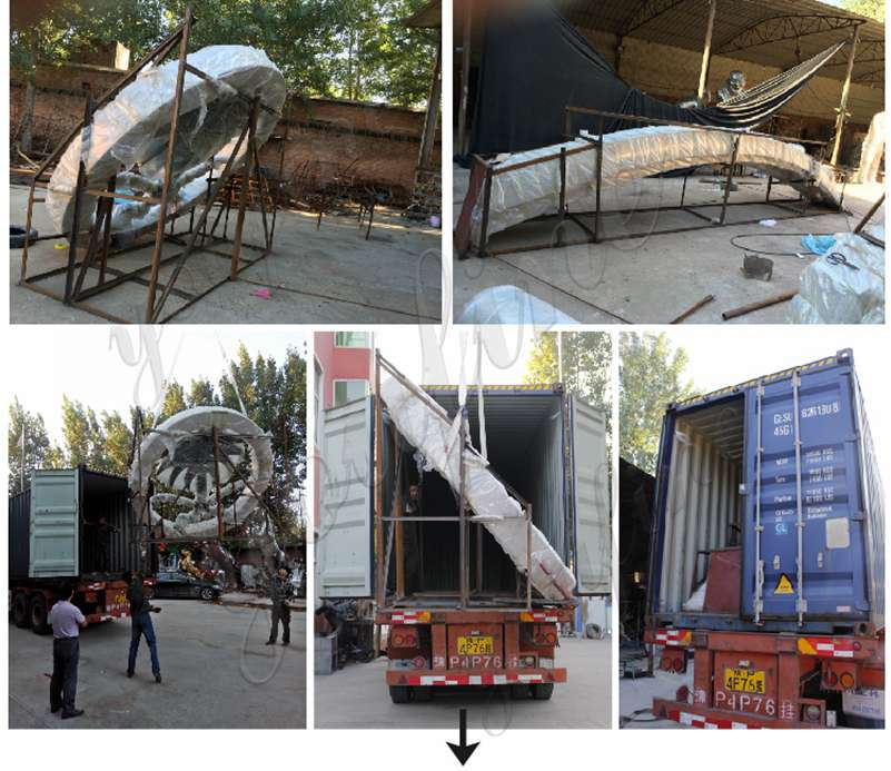 packing of large metal sculptures for sale