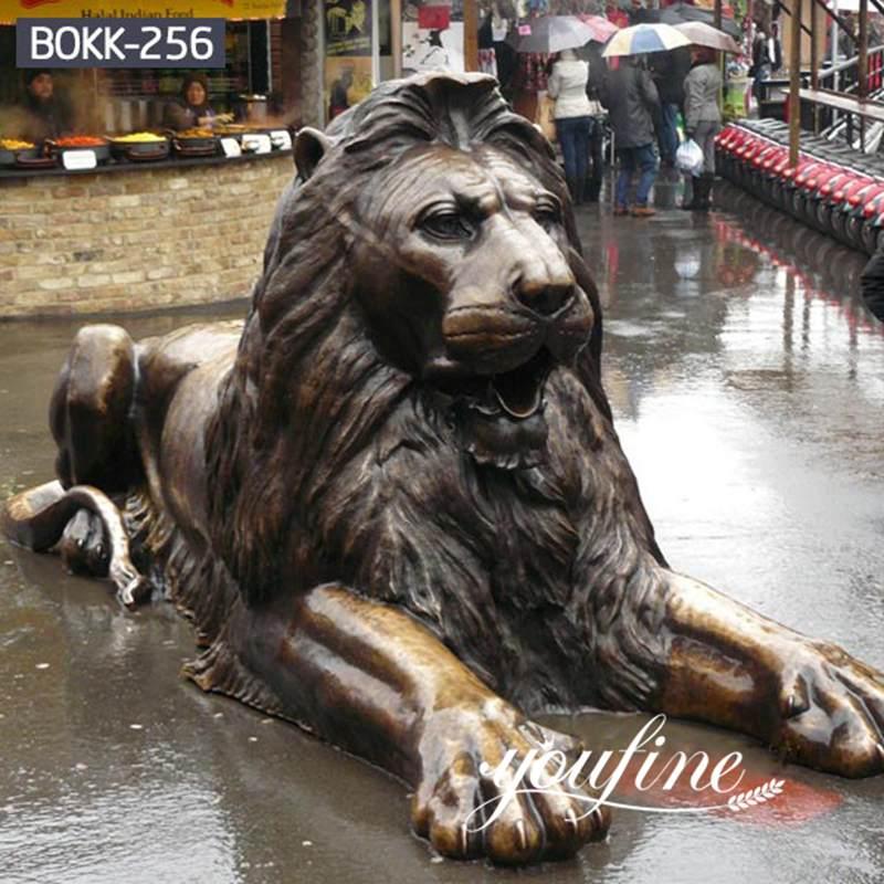 Front Porch Outdoor Bronze Lion Statue for Sale BOKK-256