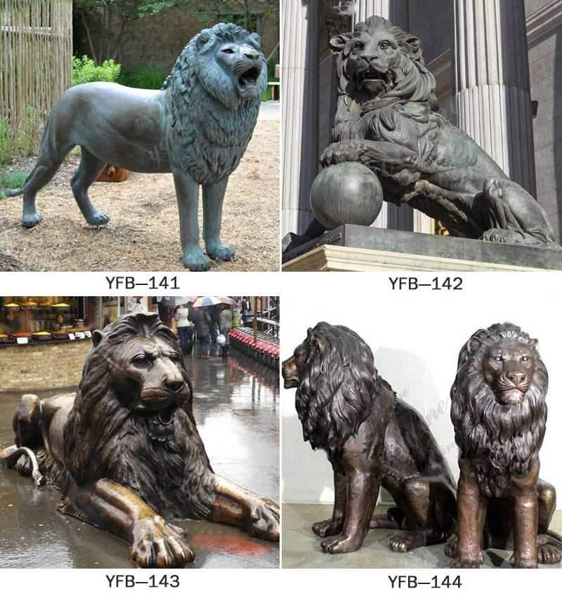 Front Porch Outdoor Bronze Lion Statue for Sale More Designs